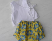 Baby Infant Kimono with Bloomer, Cotton-Linen Kimono with Cotton Rubber Duck Print Bloomer, sizes 0 through 24 month