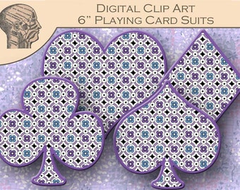 Digital Clip Art Graphics Playing Card Suits Graphics Hearts Spades Diamonds Clubs Instant Download Printable PNG Format