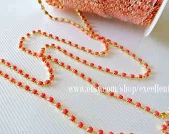 Rhinestone Chain, 3 feet Coral red rhinestone chain in Gold plated Brass Setting-3.7mm (ARC-001)
