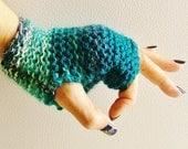 Turquoise Fingerless Gloves