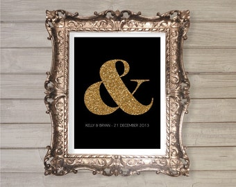 Ampersand Couple Name Printable - 8x10- Engagement Gift, Wedding Gift, Valentine's Day, Glitter, Gold, Printable Poster Home Wall Room Decor
