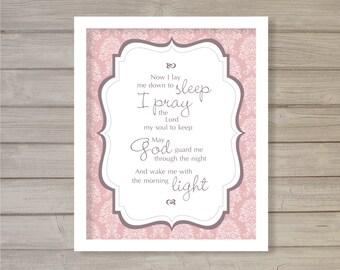 Bedtime Prayer Nursery Print -8x10- Baby Shower Gift Pink Children Room Decor Instant Download Digital Printable Poster Typography Wall Art