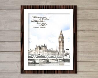 Big Ben Londres citation - 8 x 10 - Angleterre River Thames aquarelle Téléchargement instantané numérique imprimable affiche impression typographie Accueil Decor Art mural