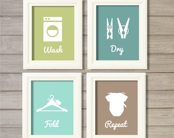 Laundry Room Wall Art Printable - 8x10- Instant Download Print Poster Avocado Green Turquoise Taupe Washing Room Home Decor Clothes Pegs