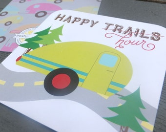 Happy Trails Happy Hour Vintage Teardrop Trailer Glamping Coasters - Set of 25 - Fun Paper Coasters - Camping Gift