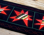 RESERVED Dramatic Stars In The Night Sky Cotton Quilted Table Runner or Wall Hanging in Red and Black OOAK