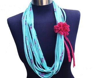 bright colors flowers  pattern women scarf necklace-turquoise fushia pink-eco friendly recycle infinity  necklace-loop scarf-textile jewelry