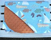 Baby Blanket - Minky Baby Blanket - Nautical Baby Blanket - Orange Baby Blanket - Blue Baby Blanket - Baby Shower Gift - Flannel Blanket