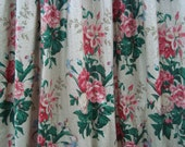 Gorgeous Vintage Drapery Panel Cotton Chintz 106 Inches Long Lined and Weighted
