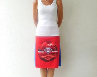 Womens Philadelphia Phillies T Shirt Skirt Recycled Tee Skirt Baseball Diamond Handmade Skirt Cotton Skirt ohzie