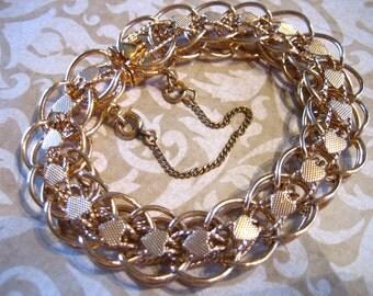 Vintage Gold Tone Snake Link Charm Bracelet with Hearts