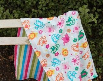 Baby Wrap, cotton jersey, bright modern, monkeys, elephants, lions, stripes