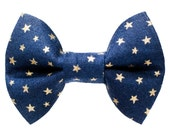 "Cat Bow Tie - ""The Comet"" - Navy with Gold Stars"