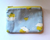 Japanese Kawaii Bathing Elephants Zip Pouch - Small Zip Pouch Coin Purse Wallet - Made from Japanese import fabric