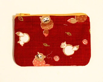 Japanese Kawaii Happy Woodland Zip Pouch - Small Zip Pouch Coin Purse Wallet - Made from Japanese import fabric
