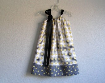 Girls Pillowcase Dress - Black and White with Yellow - Little Girls Sun Dress - Girls Clothing - Size 12m, 18m, 2T, 3T, 4T, 5, 6, 8, or 10