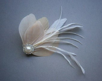 Ivory, champagne, feather, Weddings, hair, accessory, accessories, facinator, Bridal, Fascinators, Bride, clip, tan, brown - CHAMPAGNE