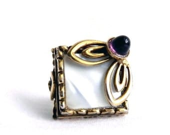 Vintage Huge Gold MOP and Amethyst Ring - Layered 3 Dimensional - Adjustable - Extreme Statement