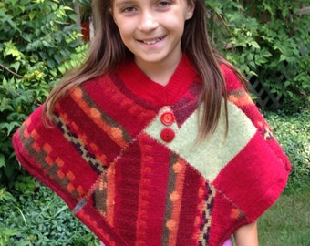 Childs wool poncho