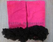 Baby Leg Warmers, Baby Leggings - Hot Pink With Black Ruffle Leg Warmers