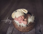 Baby Girl lamb Hat, Photo prop size newborn