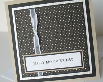 Mothers Day Greeting Card:  Handmade Blank Note Card - Pristine Elegance