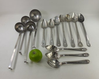14 Lot Used Vtg. USA Commercial Restaurant Stainless Spoons Ladles 12 6 Oz