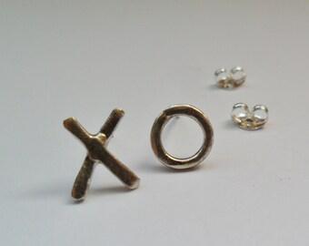 Kiss Hug Earrings, Valentines Day Earrings, Sterling Silver Earrings, XO Earrings, XOXO Earrings
