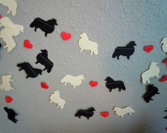 Shetland Sheepdog Love Paper Garland - Valentine's Day Decor - Choose Your Colors