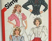 Vintage Misses' Fitted Blouse, Tuxedo Style Simplicity 5871 Sewing Pattern Size 10
