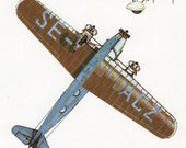 Airplane decor, FOKKER plane, AIRCRAFT vintage print, 1930s plane, bedroom decor plane airplane