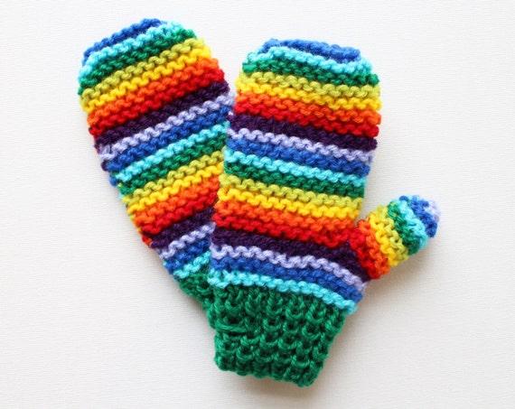 Green Rainbow Pixie Mittens - Childrens' Mittens in Green and Rainbow Colours - Mitts for Children