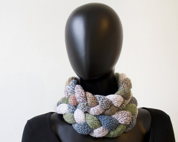 Pebble Braided Cowl Scarf - Chunky Infinity Scarf in Neutral Tones - Warm Winter Cowl