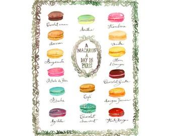Large french macaron poster, Kitchen decor, Laduree macaroon wall decor, Watercolor painting, 12X16, Food print, Bakery print, Pastel decor