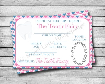 Tooth Fairy Receipt   Pink & Blue Hearts   INSTANT DOWNLOAD   Tooth Fairy Certificate