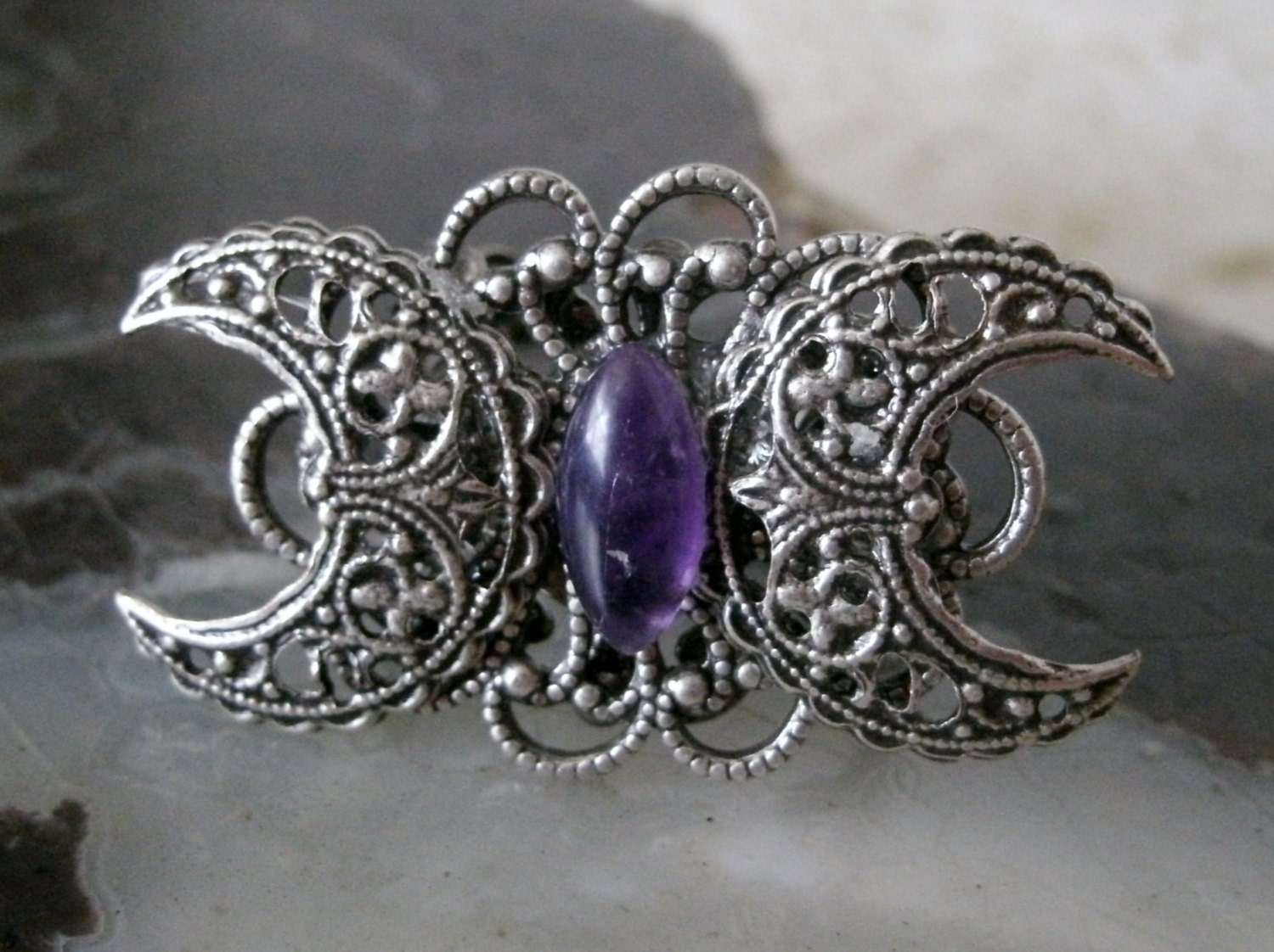 amethyst moon goddess ring wiccan jewelry pagan