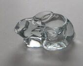 Indiana Glass Clear Crystal Bunny Rabbit Votive Candle Holder - Vintage