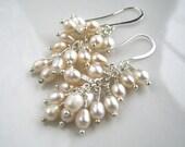 White Freshwater Pearl Cluster Earrings Pearl Bridal Earrings White Pearl Earrings Pearl Jewelry