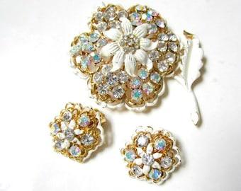 Vintage White Flower Brooch Clip Earring Set Vintage Rhinestone Enamel Pin Earrings Shabby Chic Jewelry Gift for Her Idea Under 25