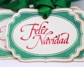 Christmas Tags (Doubled Layered) - Feliz Navidad Tags - Handmade Vintage Inspired Christmas Gift Tags - Vintage Christmas Tags - Set of 8