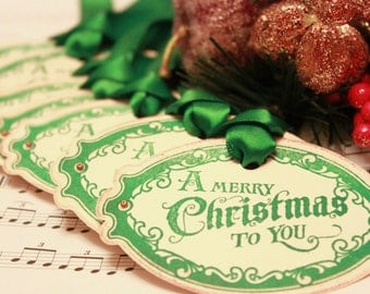 Christmas Tags (Doubled Layered) - A Merry Christmas To You (A1) - Handmade Vintage Inspired Christmas Gift Tags - Set of 8