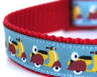 Yellow Vespa Dog Collar,  Ribbon Dog Collar,  Adjustable, Pet Accessory