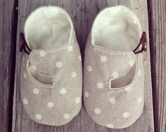 Gray and Cream Polka Dot Linen Loafer Baby Shoes - Modern Baby - Toddler Shoes