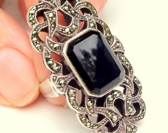 Natural, Black Onyx, Marcasite, Sterling Silver Ring
