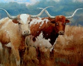 At The Ranch - 36in x 36in Hand embellished giclee print on canvas of two Texas Long Horn Cows.