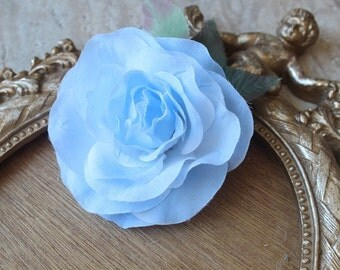 Cute silk   flower  with  clip back   1 piece listing blue color