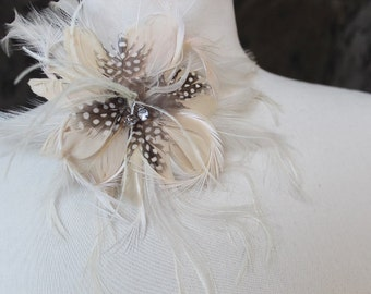 Feather flower  with clip and pin back  1 pieces listing cream  color
