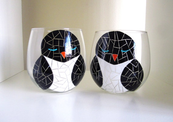 Mosaic Penguins Painted Wine Glasses- Set of 2