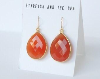 Orange Carnelian of the Sea Gold Vermeil Earrings