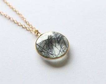 Rutilated Quartz of the Sea Gold Vermeil Necklace